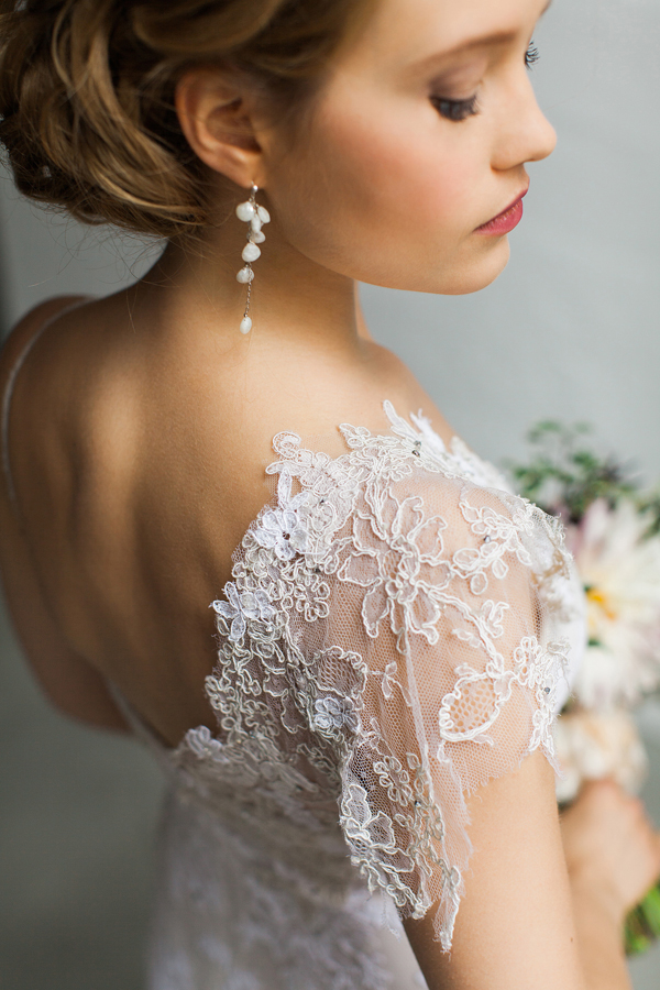 Bridal portrait in lace gown