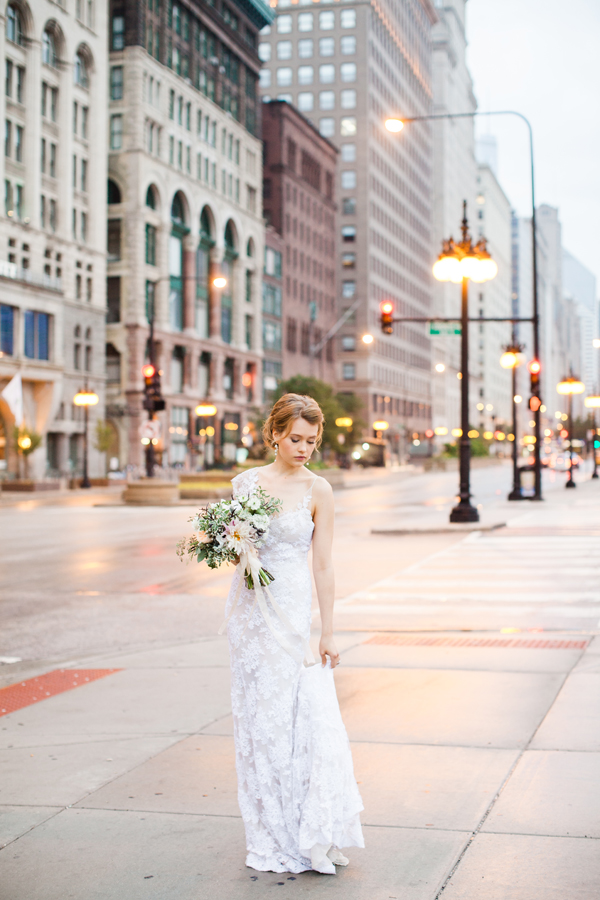 downtown chicago wedding portrait