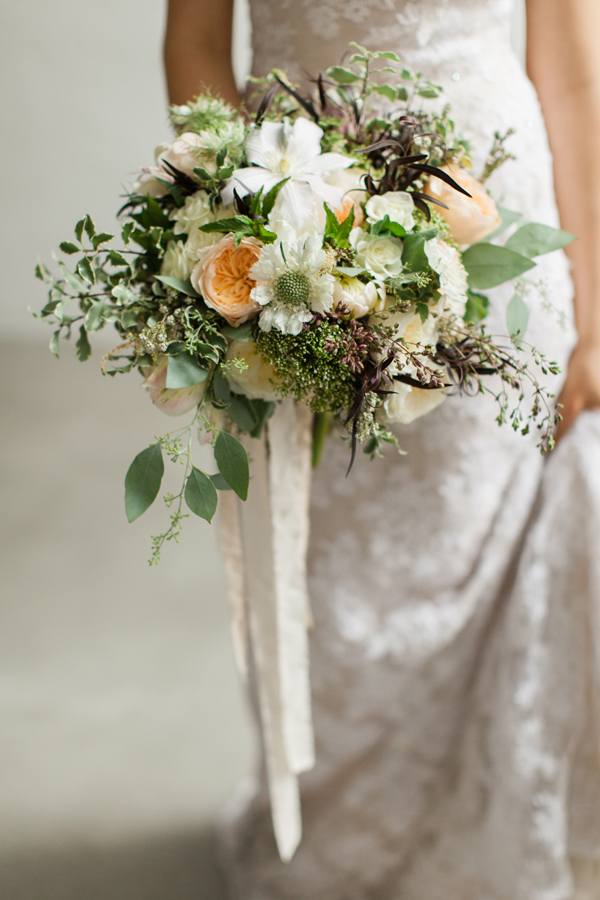 white, peach and green bridal bouquet by Foraged Floral in Portland, Oregon