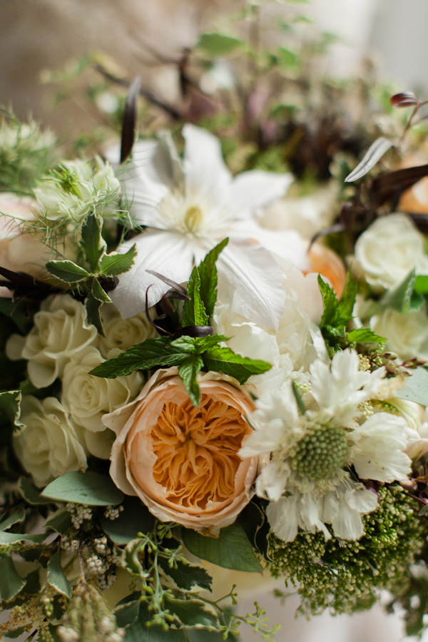 peach and white flowers for wedding centerpiece by Foraged Floral, in Portland, Oregon