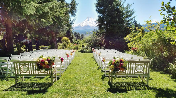 mt hood organic farms wedding in oregon with bright colored flowers by Foraged Floral