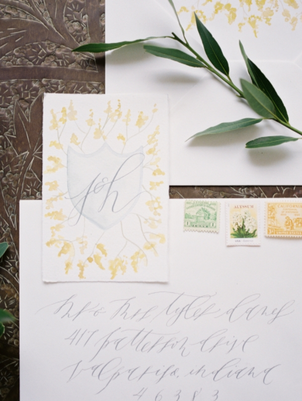 yellow calligraphy wedding invitations