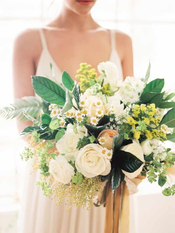 Yellow, white and green wedding bouquet by Foraged Floral in Portland, OR