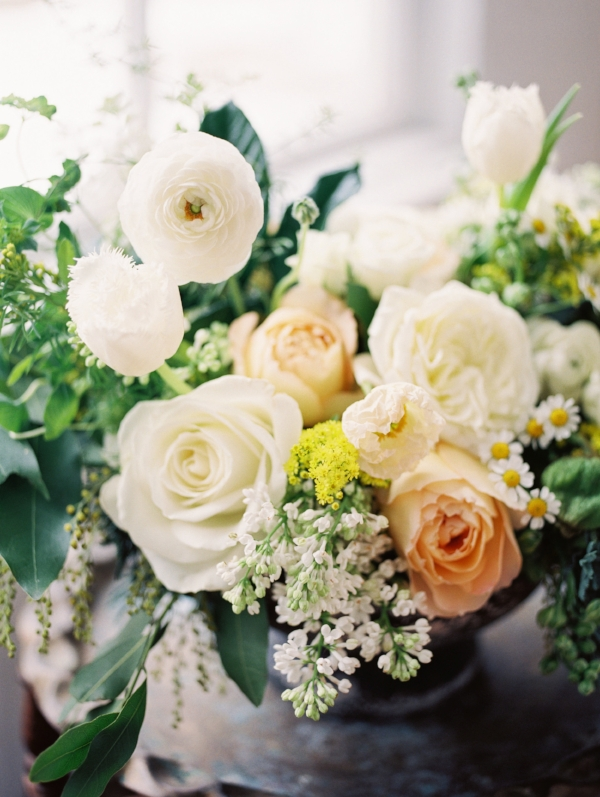 Yellow, white and green wedding flowers by Foraged Floral in Portland, OR