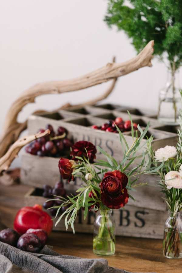 burgundy and purple wedding flowers and decor by Foraged Floral