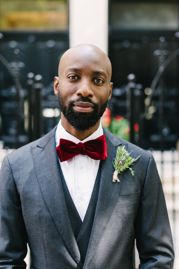 stylish groom with rosemary bout on wedding day by Foraged Floral