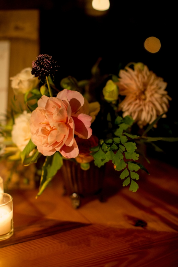 fall wedding centerpiece ideas with flowers like peonies, garden roses, and dahlias in peach, pink, cream, and burgundy by Foraged Floral in Portland, OR