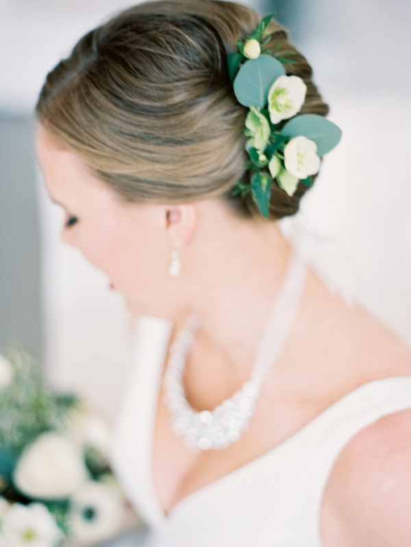 Bridal hairclip with fresh flowers like hellebores and eucalyptus by Foraged Floral in Portland, OR