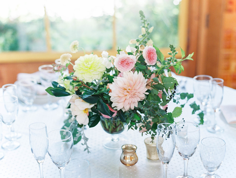 wedding flower centerpiece design with dahlias and garden roses in summer at outdoor oregon wedding.jpg