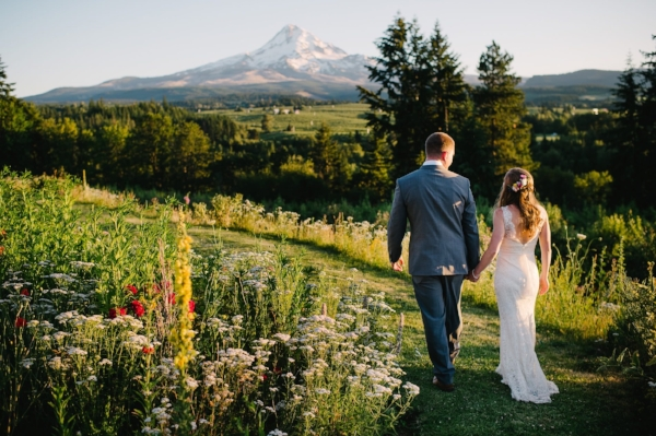 Portland Oregon Wedding Florist, Foraged Floral; Mt. Hood Organic Farms outdoor wedding in the PNW with bright summer wedding flowers like poppies, dahlias, garden roses, and zinnias in shades of pink, purple, yellow, and white