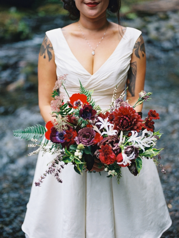 Portland Oregon Wedding Florist, Foraged Floral; purple, red and burgundy wedding bouquet with dahlias and anemones