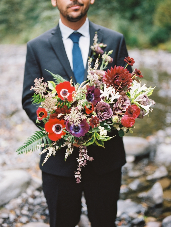 Portland Oregon Wedding Florist, Foraged Floral; Wahcella Falls elopement with purple, red and burgundy wedding bouquet with dahlias and anemones