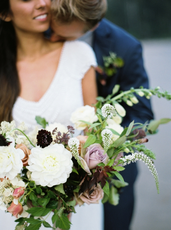 Oregon coast wedding elopement with purple, burgundy, mauve and white bridal bouquet by Foraged Floral in Portland, Oregon. Flowers include dahlias, scabiosa and roses.