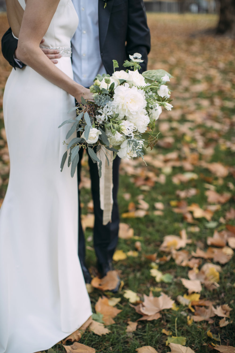 fall wedding bouquet with white, navy and green flowers for walla walla wedding.jpg