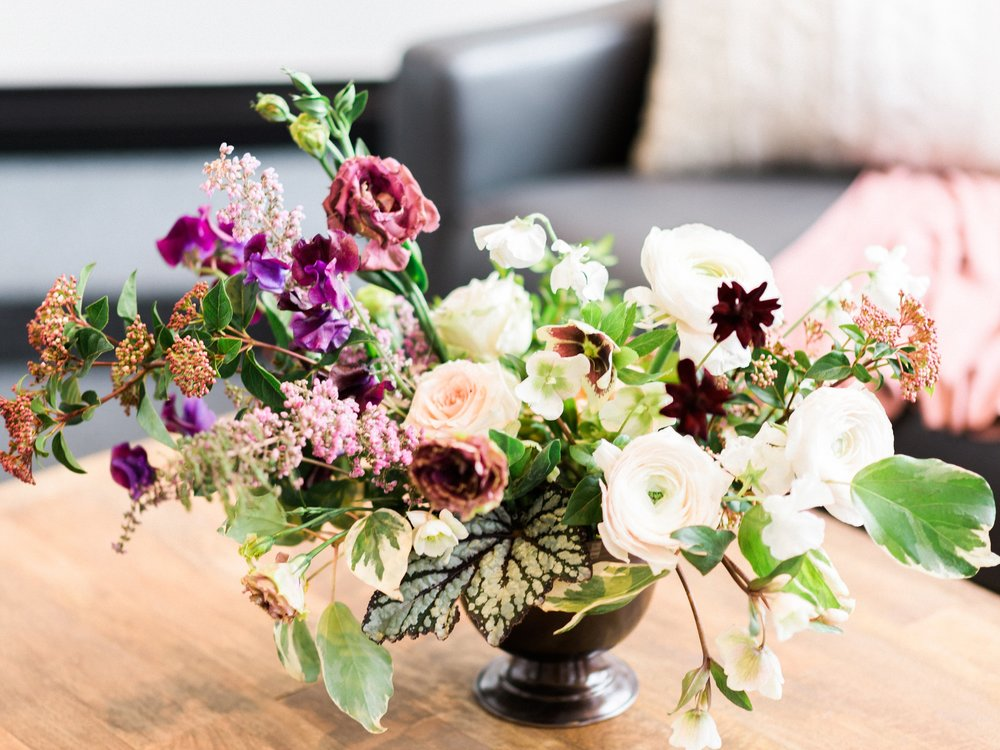 purple and peach wedding centerpiece by foraged floral in portland, OR.jpg