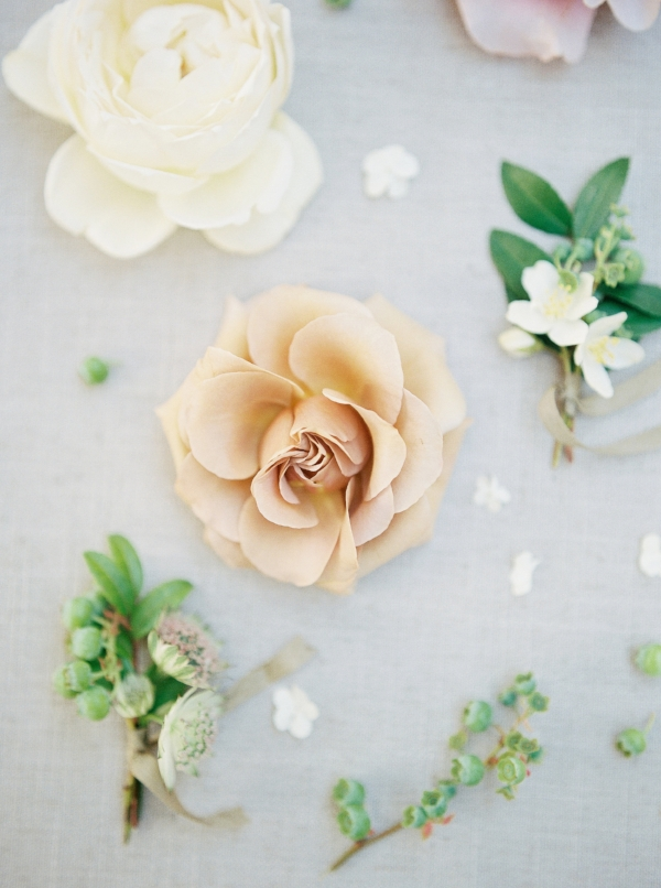 Flat styling with garden roses, sweet pea, and other spring flowers by Foraged Floral