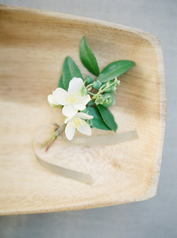 White and green simple and natural boutonniere by Foraged Floral