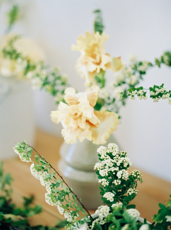 Portland Oregon Wedding Florist, Foraged Floral, spring flowers peach iris and spirea.jpg