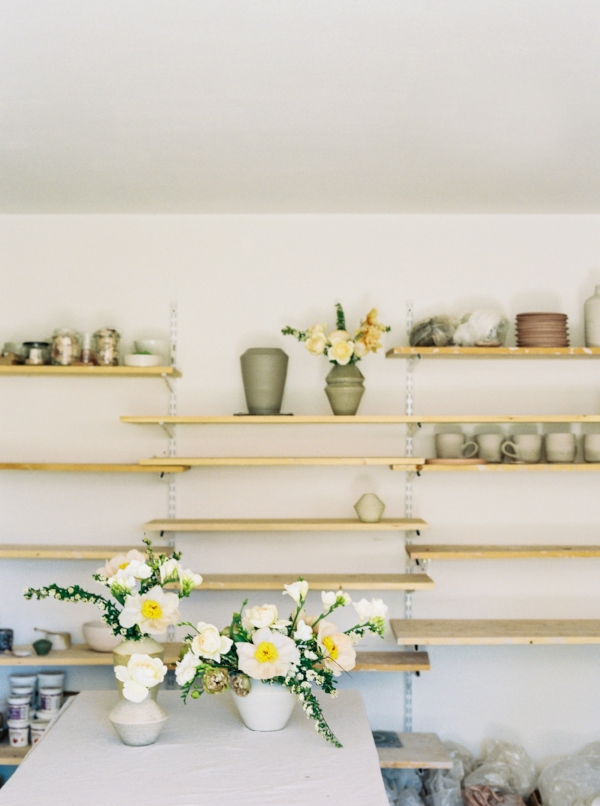 Portland Oregon Wedding Florist, Foraged Floral, spring flowers with handmade pottery.jpg