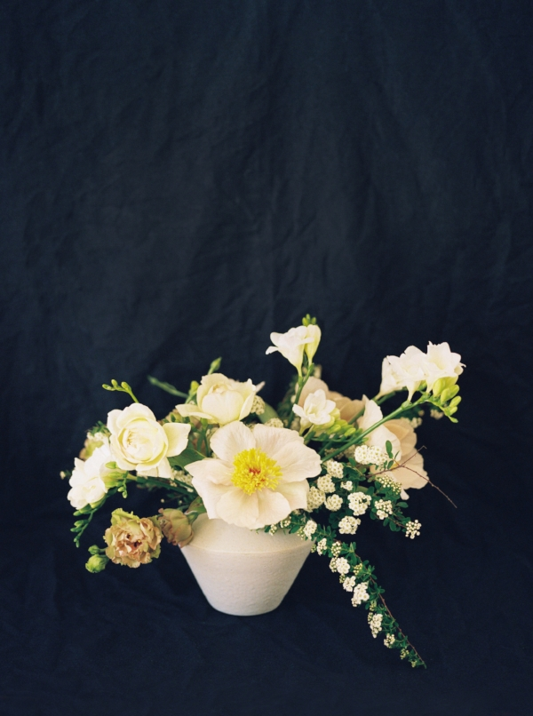 Portland Oregon Wedding Florist, Foraged Floral, spring flower arrangement with peonies, spirea and lisianthus.jpg