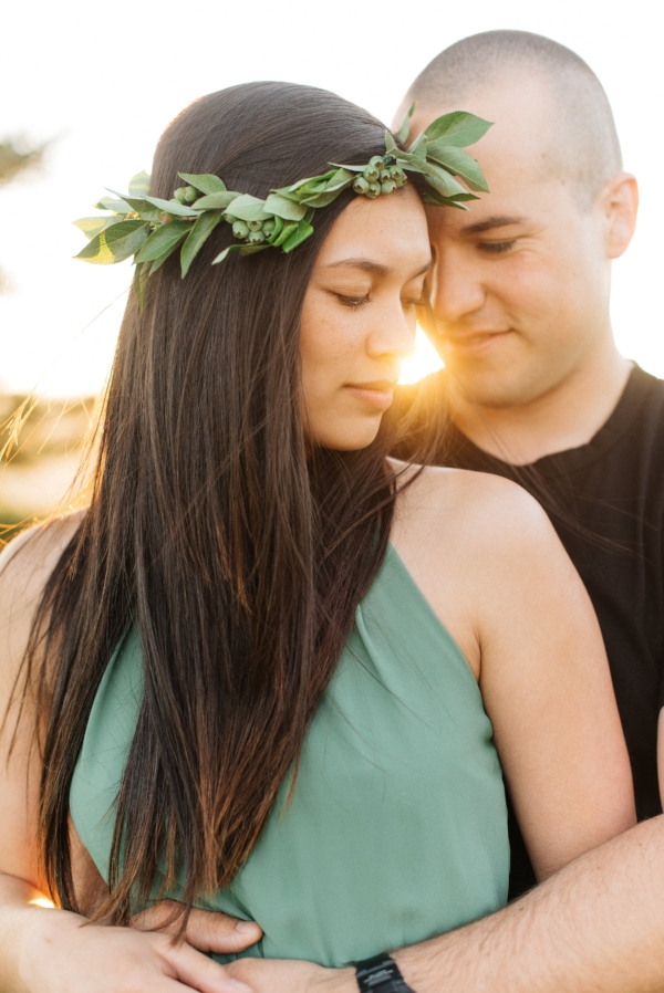 Greenery floral crown for engagement session in Oregon