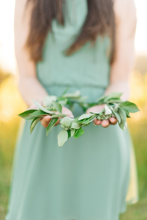 Flower crown for engagement session in Oregon by Foraged Floral