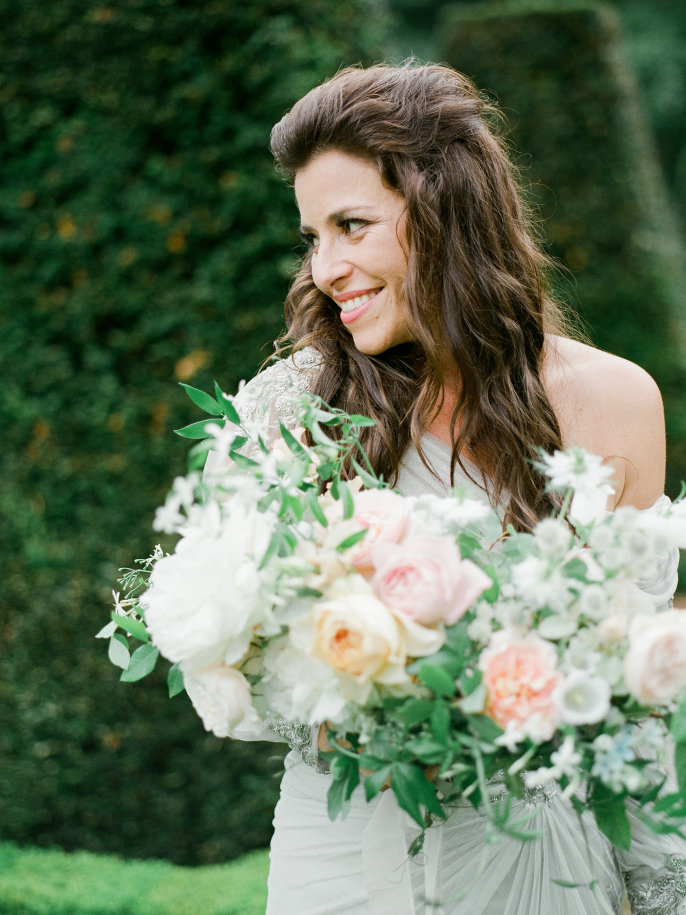 fine art wedding florist, foraged floral, bridal bouquet with peonies and garden roses for wedding in paris.jpg