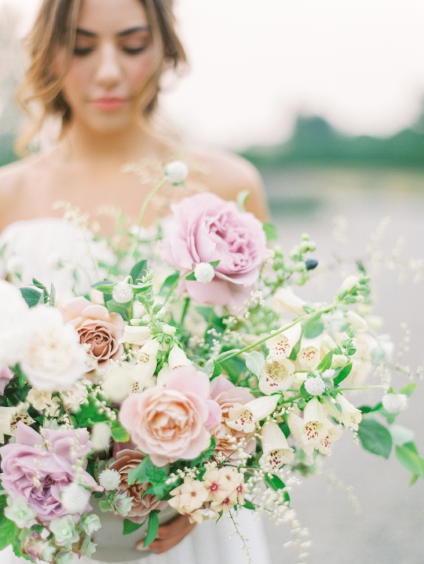 Monet Vineyards wedding in Washington with purple, peach, white and blush wedding flowers including garden roses and foxglove for an outdoor wedding