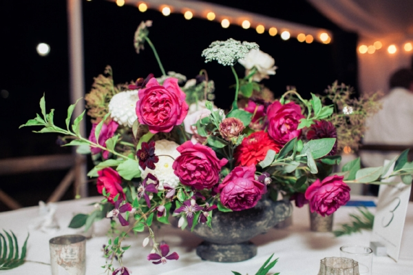Lewis and Clark College outdoor summer wedding with red, plum, burgundy and white flowers including peonies, dahlias, and garden roses in Portland, OR by Foraged Floral