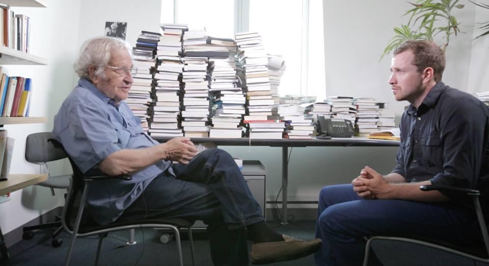 Eric interviewing professor Noam Chomsky.