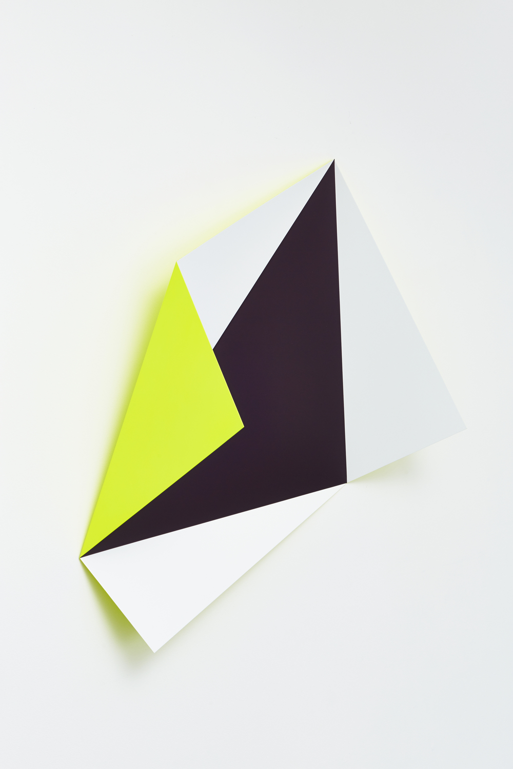 Rana Begum, No. 489 L fold, 2014, paint on mild steel, 57 1/2 x 47 x 19 inches (146 119 x 48 cm). Courtesy the artist and Jhaveri Contemporary. Photograph: Philip White