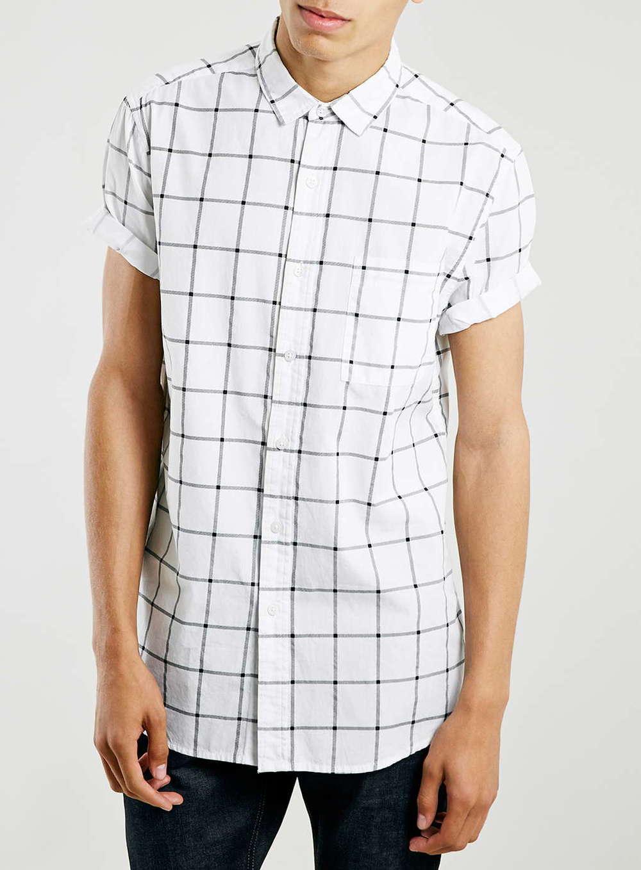 TopMan's White Mono Grid Short-Sleeve Shirt