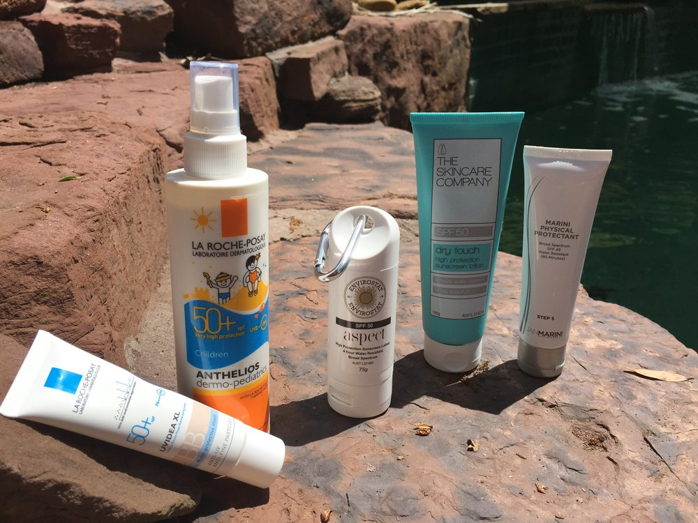 High SPF sunscreen - is a must if hanging poolside...and even then the word 'poolside' makes us nervous.