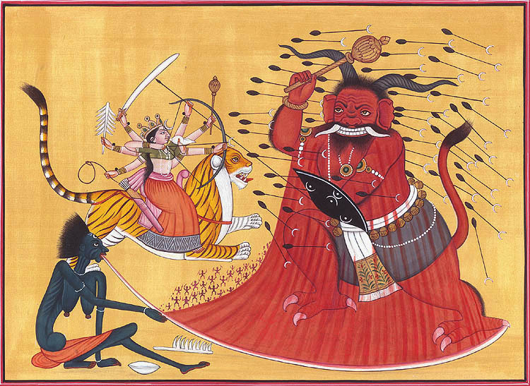 The  Yoginī -Warrior Goddesses Kālī and Durgā slaying the demon Raktabīja in battle.Durgā uses her many chosen weapons of combat while Kālī unleashes her  śakti (divine power, yogic energy or super-natural might).