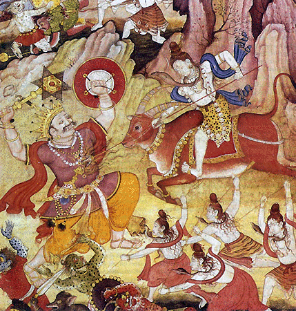 ŚIVA  the god of destruction and master of  Yogins with a band of ascetic warriors battle the demon Andhaka in the  Puranas .