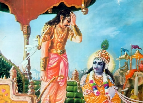 Arjuna loses composure just before battle and questions his own purpose leading Krishna to impart the wisdom of yoga in the   Bhagavad Gītā  .