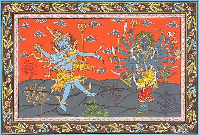 ŚIVA   with  VĪRABHADRA   prepare to destroy Dakṣa's ritual sacrifice.