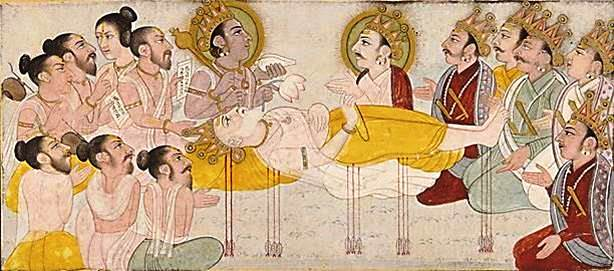 Warriors from both sides honor their guru and grandfather Bhīṣma on his deathbed of arrows in the Mahābhārata war.