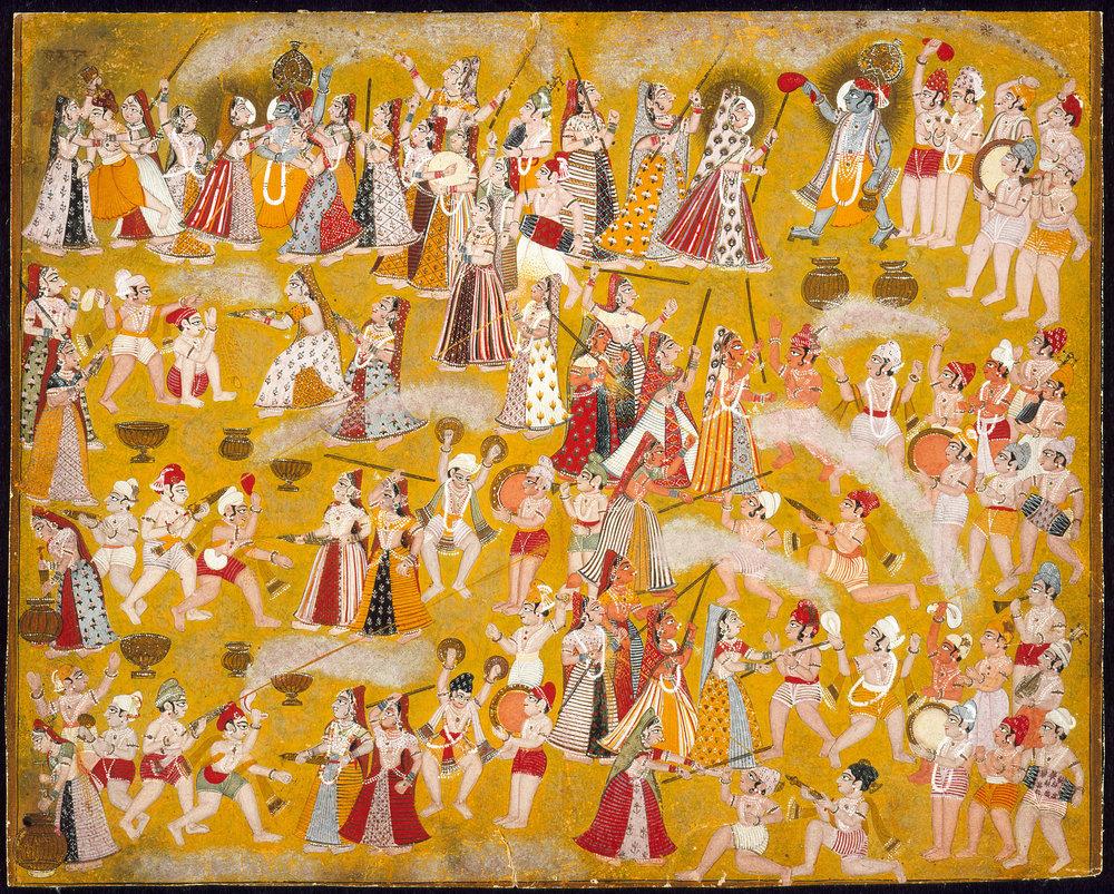 Krishna and Radha Celebrating the Holi Festival with Companions - India, Rajasthan, Marwar, circa 1750