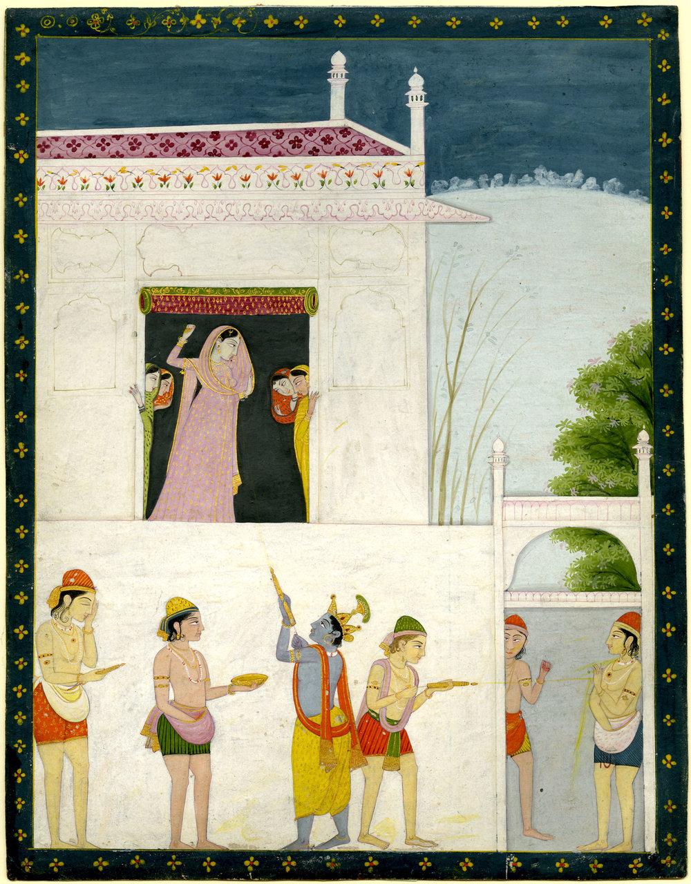 Krishna squirting coloured water at Radha.  Painting, Pahari School, early 19th century.
