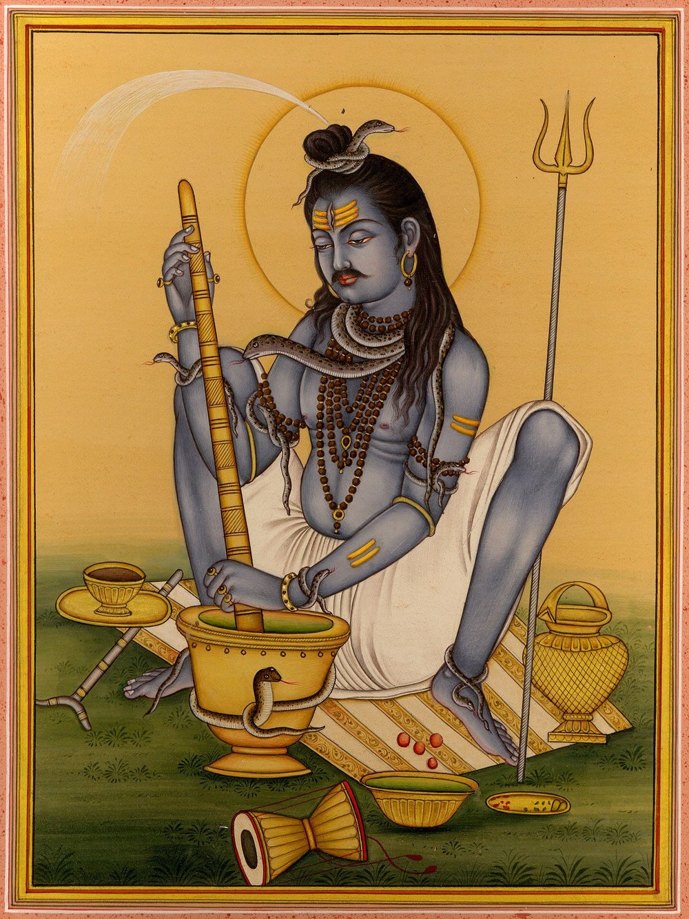 Shiva grinding fine herbs has a spiritual practice to make his Bhang.