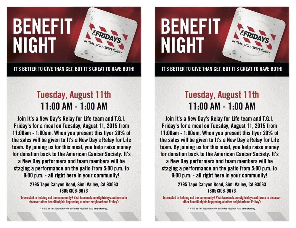 Present this flier to your server anytime on Tuesday, August 11th, and 20% of your bill will go to It's a New Day's Relay for Life Team!