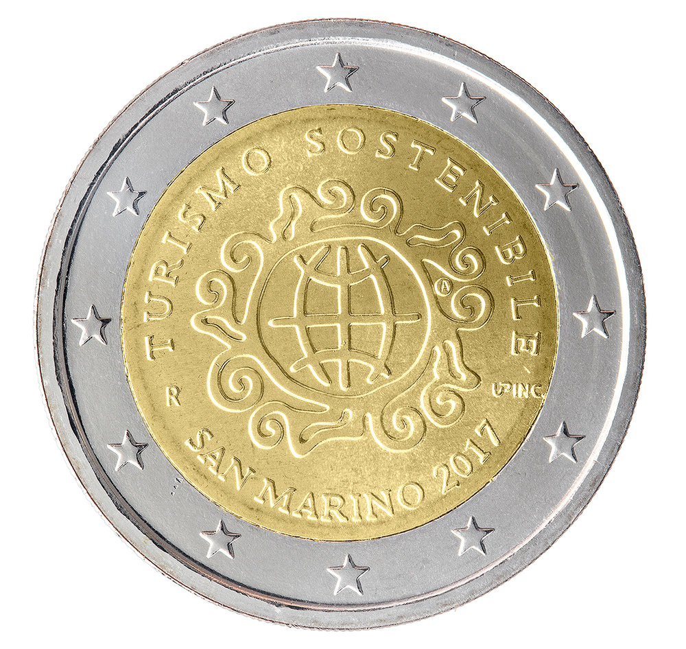 The Republic of San Marino: 2 EURO coin design by Andrew Lewis ...