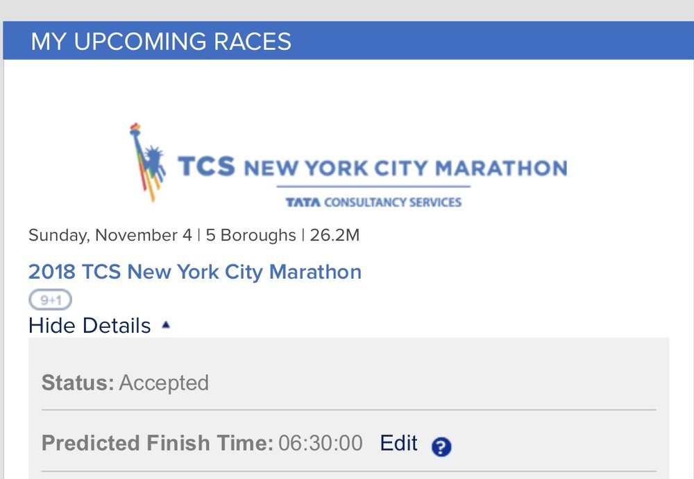 When it became officially, official. I'm in! 06:30:00 is a 15-minute mile. #goals