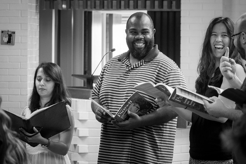 Gitanjali Mathur, Reginald Mobley, and Janelle DeStefano in rehearsal.