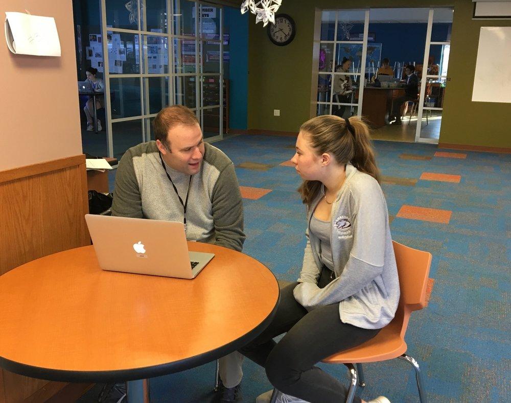 Alyssa and her advisor, Jake, discuss her academic goals