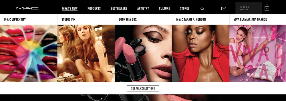 This MAC Cosmetics interactive visual navigation is something a marketer could easily build using Likelihood's Intelligent Creative platform