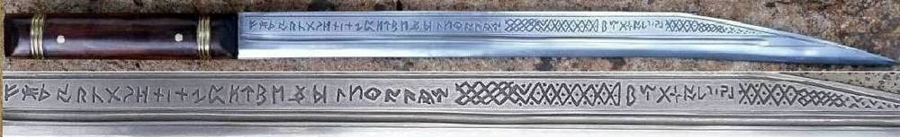 The Seax of Beagnoth (also known as the Thames scramasax) is a 10th-century Anglo-Saxon seax (single-edged knife), found in the River Thames, England, in 1857. It is a prestige weapon, decorated with elaborate patterns of inlaid copper, bronze and silver wire. On one side of the blade is the only known complete inscription of the twenty-eight letter Anglo-Saxon runes.