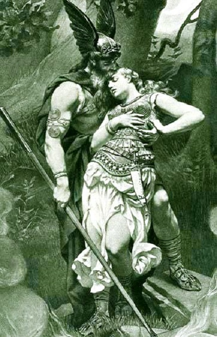 Wotan takes leave of Brunhild by Konrad Dielitz (1892)