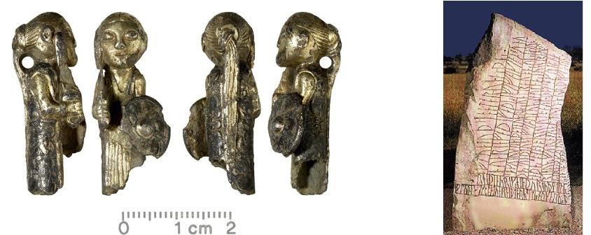Valkyrie / Shield maiden amulet -Hårby in Denmark                                        Rök Runestone